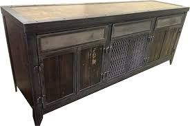 industrial steel and wood console cabinet with hidden compartment