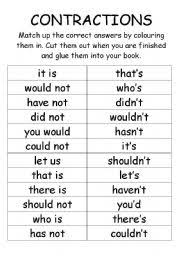 english worksheets contractions cut and paste