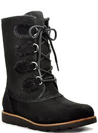 ugg rommy sale ugg black suede and shearling lace up boot in black lyst