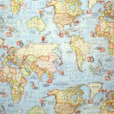World Map Fabric by Atlas World Map Blue Travel Upholstery Weight Cotton Fabric Per