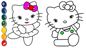 howto draw hello kitty coloring pages learn colors for kids