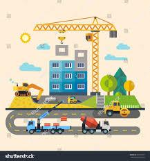 construction process tools materials building crane stock vector