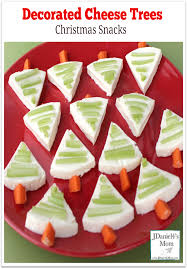 christmas snacks decorated cheese trees