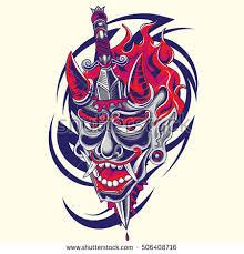 japanese demon face dagger tribal tattoo stock vector 506408716
