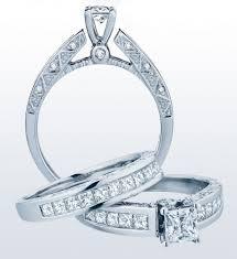 Vintage Wedding Ring Sets by Princess Cut Vintage Pave Diamond Wedding Ring Set With Filigree