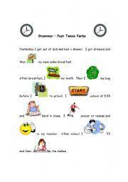 esl kids worksheets past tense regular verbs