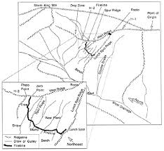 oblique sketch of west facing slope of the main ridge perspective