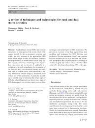 a review of techniques and technologies for sand and dust storm