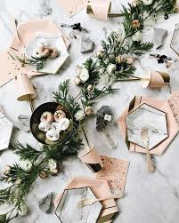 modern table settings picture of hexagon chargers and marble hexagon plates for an edge