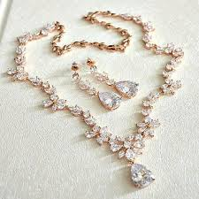 bridal wedding necklace set images Rose gold cubic zirconia bridal jewelry set cz crystal wedding jpg