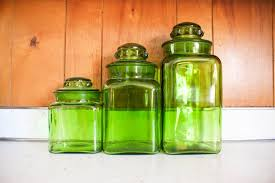 lime green kitchen canisters green glass kitchen canister set vintage three 42 00 via