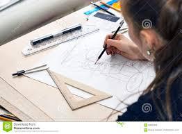 Schreibtisch M El 24 Mädchenarchitekt Zeichnet Einen Plan Design Geometrische Formen