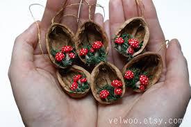 mushroom christmas ornaments walnut shell ornament