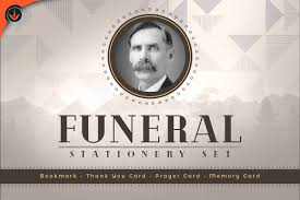 funeral stationery deco funeral stationery set templates creative market