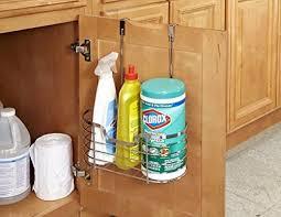 cabinet storage in kitchen kitchen details kitchen cabinet door hanging organizer basket holds bottles sponges cleaning products 1 tier medium chrome