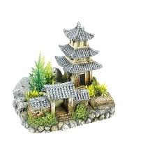 asian temple plants aquarium ornament house fish cave