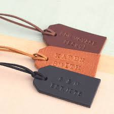 personalised handsted leather luggage tag by posh totty designs