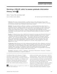 how to write an evidence based practice paper norming a value rubric to assess graduate information literacy norming a value rubric to assess graduate information literacy skills pdf download available