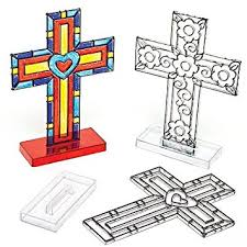 Religious Decorations For Easter by Amazon Com Cross Stand Up Suncatchers For Children To Color In