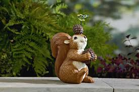 squirrel holding pine cone outdoor living outdoor decor