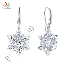 sterling silver wedding gifts peacock classic dangle drop earrings snowflake