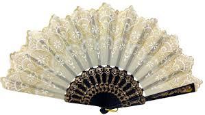 silk fan folding silk fan 9 beige with gold flower pattern and black