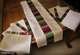 table runner placemat set buy pearl white handmade silk ethnic table runner 1 and placemat