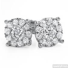 cluster stud earrings white gold finish fancy vvs cluster stud earrings jewelryfresh