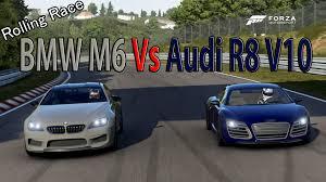 bmw vs audi race forza motorsport 6 drag race audi r8 v10 plus vs bmw m6