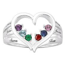 mothers birthstone rings s birthstone heart name ring 10063240 hsn