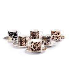 set of six africa design espresso cups u0026 saucers kings of chelsea
