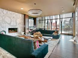 Bling Large Chandelier Modern Living Room With Transom Window U0026 Chandelier In New York
