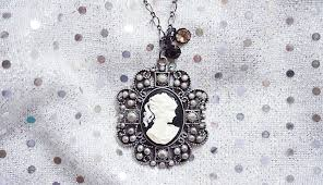 victorian cameo necklace images Victorian black and white lady cameo metal necklace the jenifer jpg
