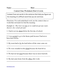 6th grade context clues worksheet worksheets