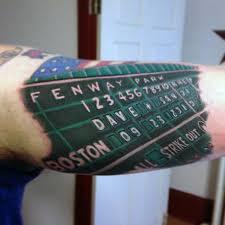 inner arm bicep baseball scoreboard guys boston sox