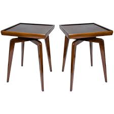 side tables modern pair of mid century modern walnut wood side tables with spider leg