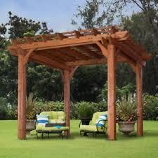 Patio Gazebo 10 X 10 Pergola Canopy Cedar Wood Cover Outdoor Patio Gazebo Garden Shade