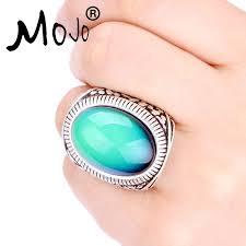 v shaped gold ring moho silver mojo vintage bohemia retro color change mood ring emotion feeling