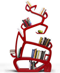 antique freestanding bookshelf design idea in eye catching red