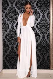 slit black floor length a line prom dress with long sleeves