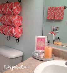 Blue And Orange Bathroom Decor Our New Home U0027s Bathroom In Aqua And Coral Wine Rack Coral
