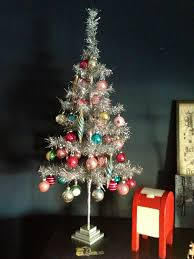 tinsel tree with vintage dimestore ornaments some from walgreens