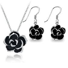 black rose pendant necklace images Alloy and crystal studded black rose pendant and drop earrings jpg