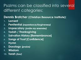 understanding and praying the psalms major genres of psalms ppt