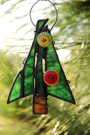 rustic button christmas tree ornament stained glass