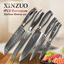 Japanese Damascus Kitchen Knives Online Get Cheap Damascus Steel Kitchen Knife Set Aliexpress Com