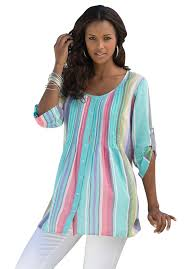 Plus Size Casual Work Clothes Rainbow Stripe Bigshirt Plus Size Shirts U0026 Blouses Roamans