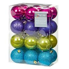 24 x assorted multi coloured christmas baubles balls decorations