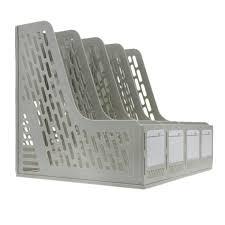 boite de classement bureau bxt 4 compartiments boîte de rangement étagère en polypropylène