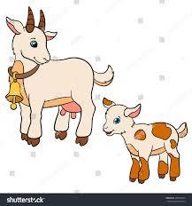 cartoon farm animals kids mother goat stock vector 442458754
